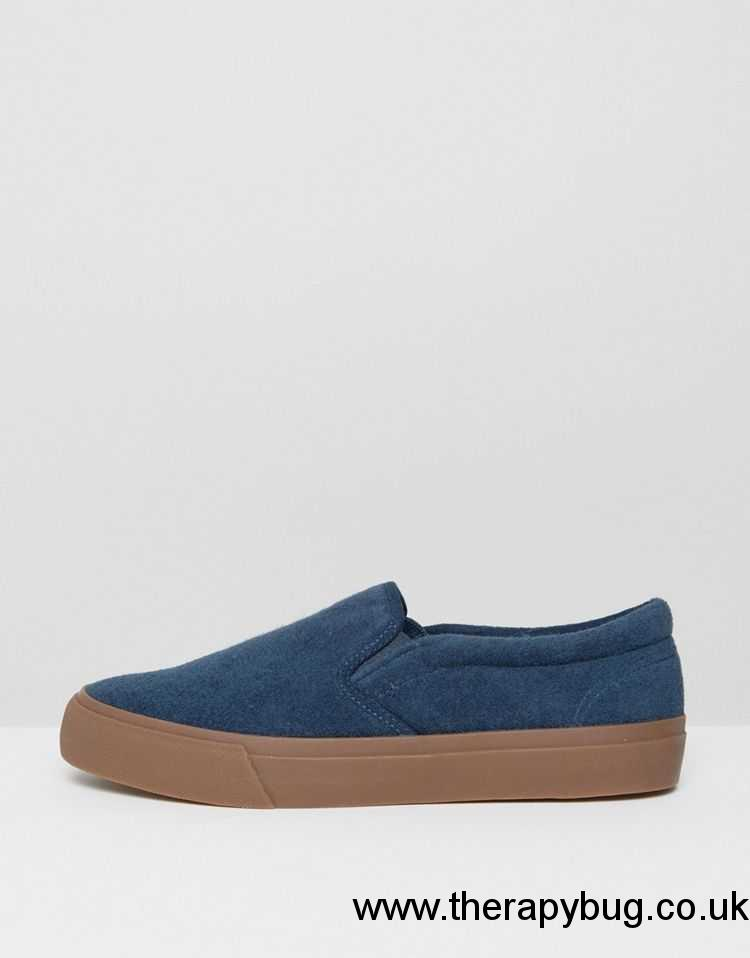Men - Spring/Summer 2017 - ASOS Slip On Plimsolls In Navy Towel With Gum Sole - Navy | ASOS United Kingdom IXN2903379
