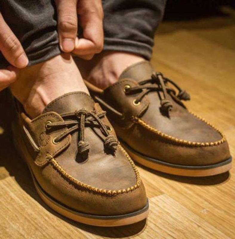 giày da lười boats shoes ngoại cỡ nam