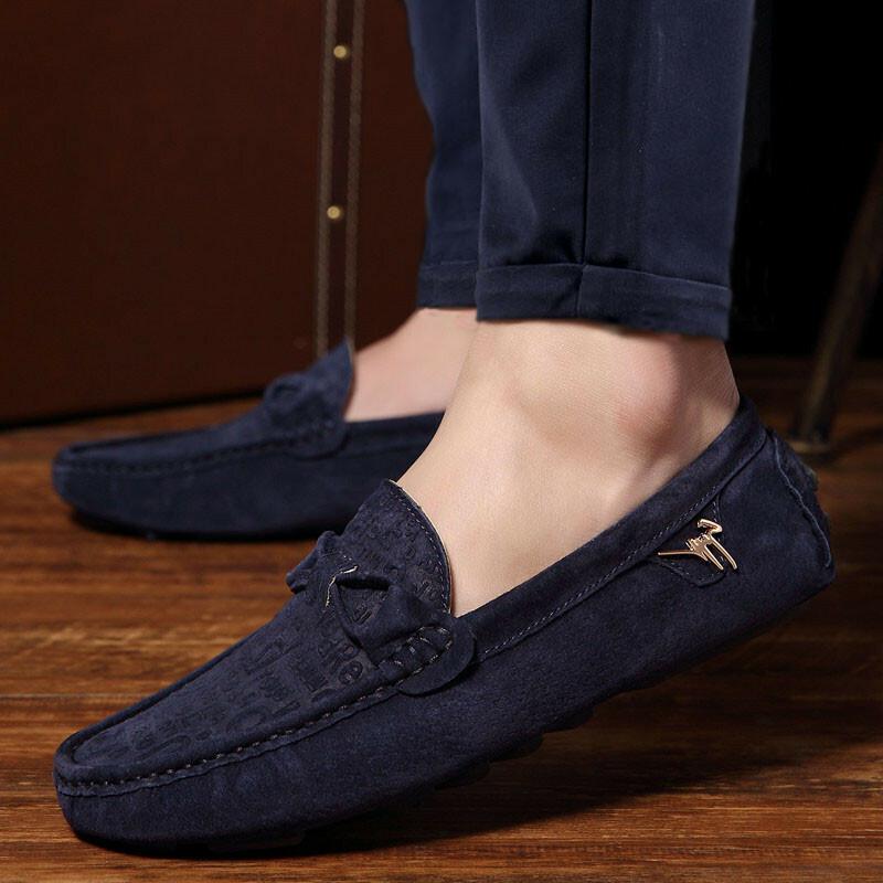 giày lười da lộn moccasin ngoại cỡ nam